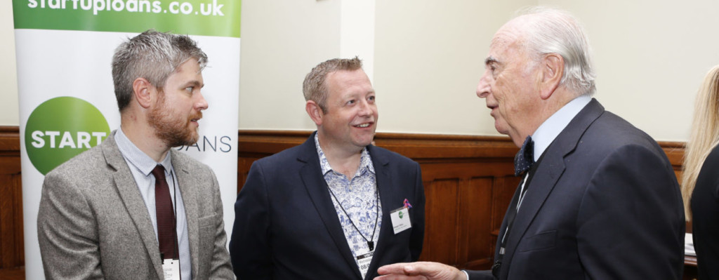 Start Up Loans ambassadors Stewart Hilton and Mark Taylor meeting Lord Young at Westminster