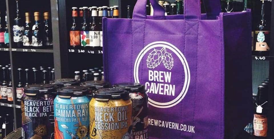 Brew Cavern tote bag and beers