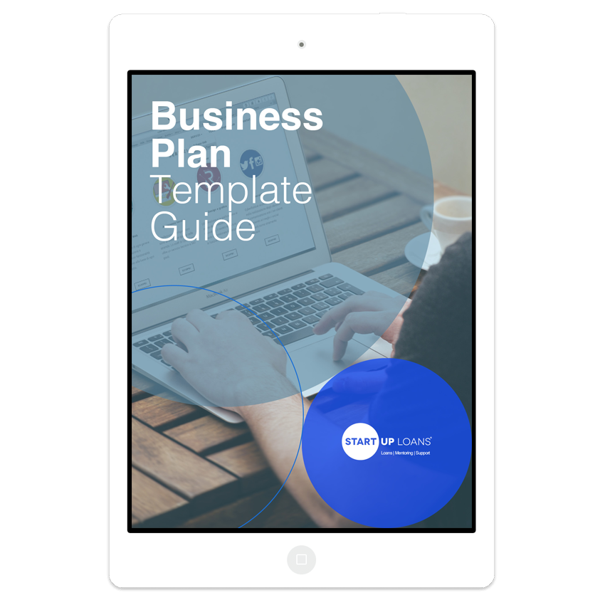 The Business Plan Template guide on iPad screen
