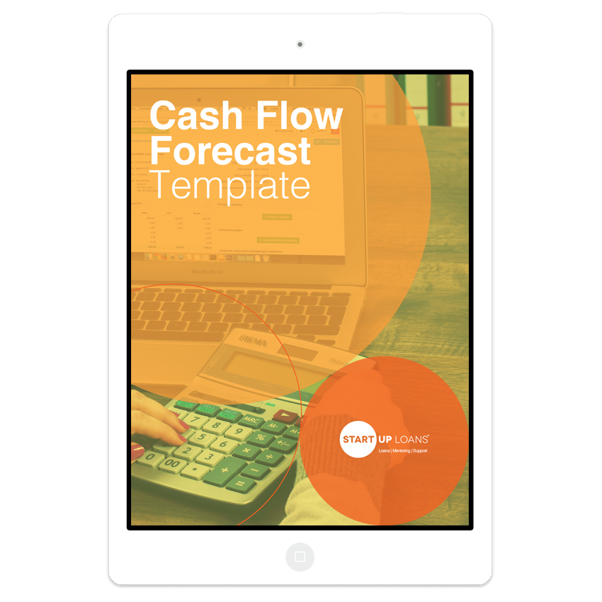 The Cash Flow Forecast template on iPad screen