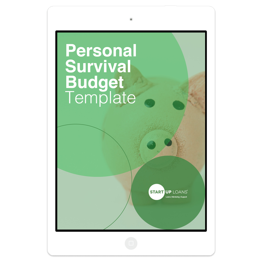 The Personal Survival Budget template on iPad screen