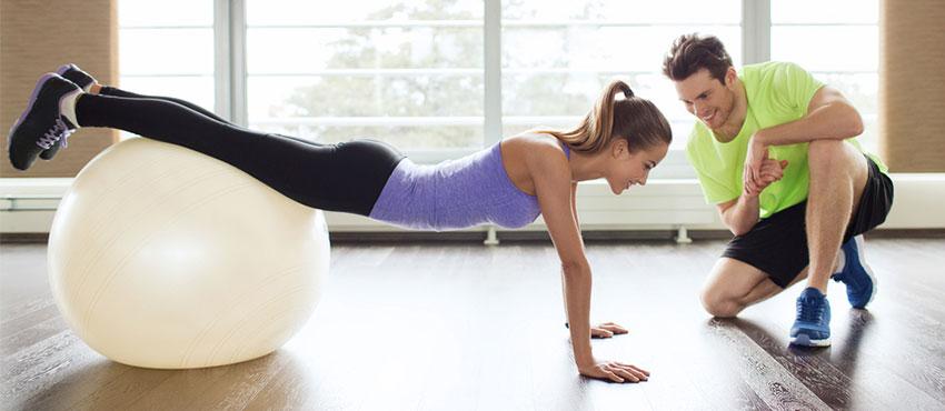 Personal trainer, yoga, ball