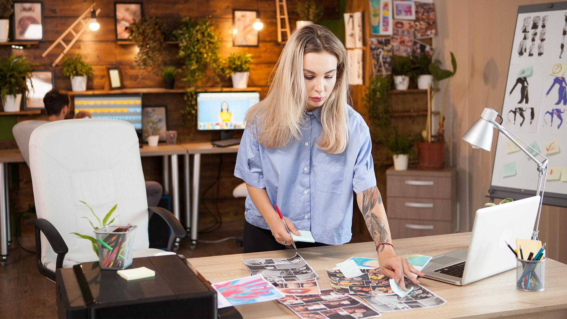 designer looking at designs