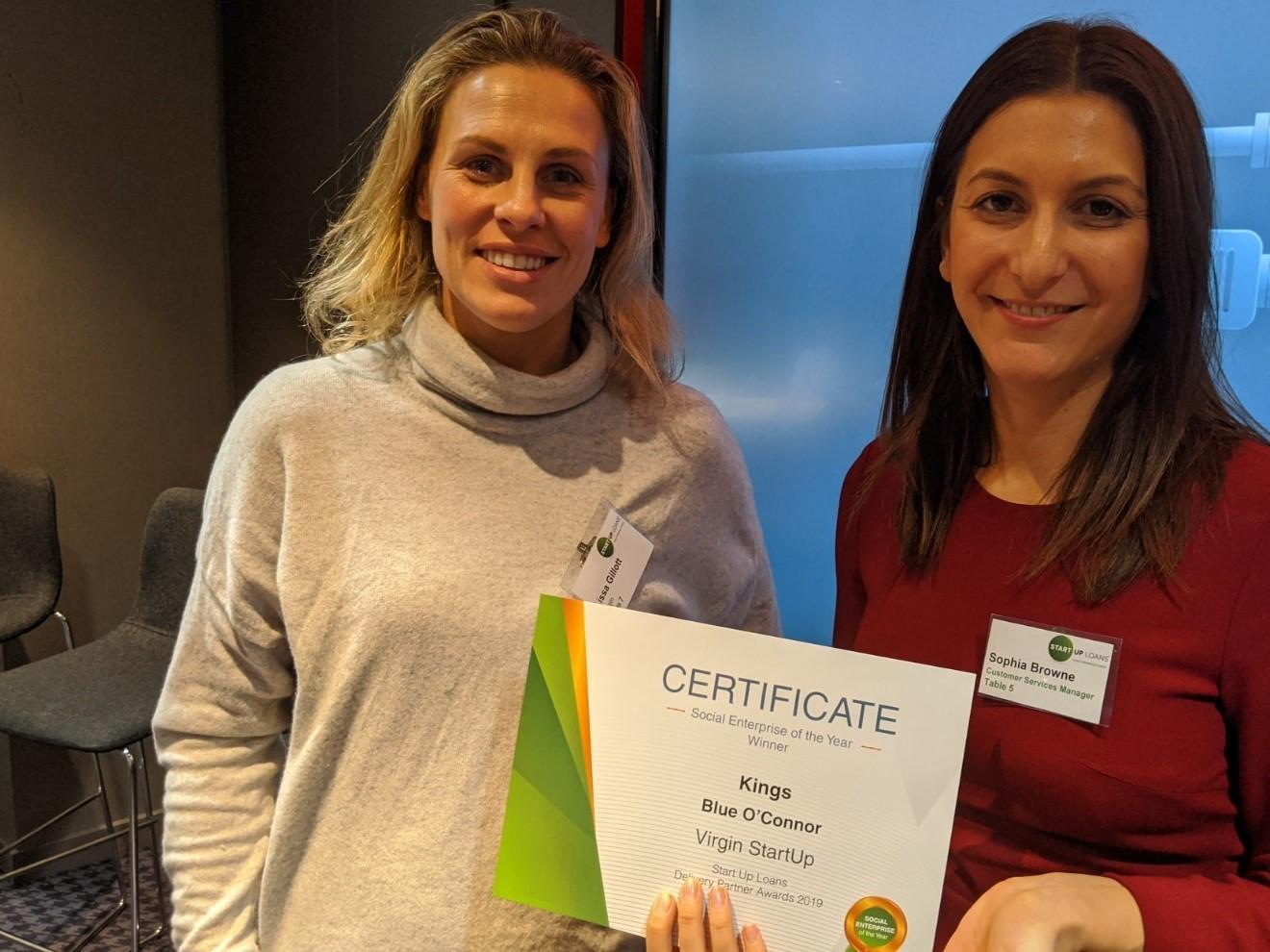 Sophia Browne presenting a certificate to Virgin StartUp
