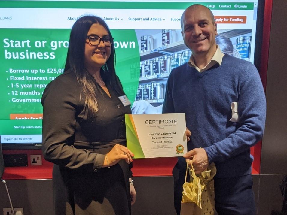 Richard Bearman presenting a certificate to LoveRose Lingerie founder Caroline Alexander