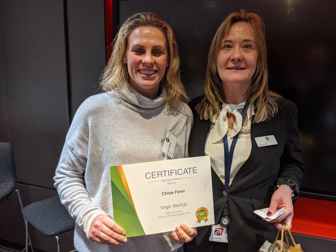 Tracey Kilty presenting a certificate to Chloe Fenn