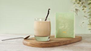 glass of vanilla smoothie