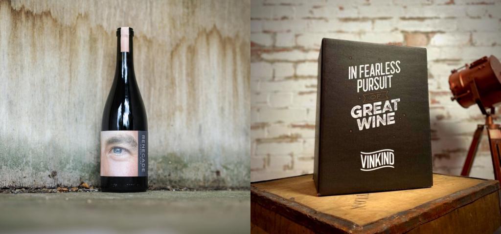 A bottle of Vinkind-stocked wine beside a Vinkind wine box